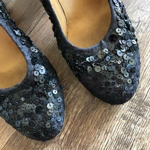 Dries Van Noten Shoes - Dries Van Noten Satin Leather Sequin Block Heels
